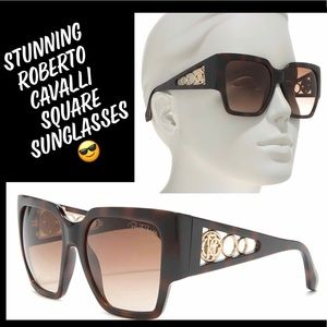 Stunning Roberto Cavalli Brown Square Sunglasses